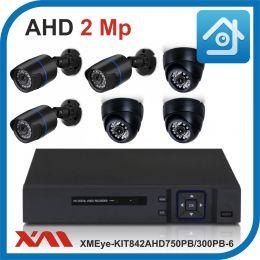 Комплект видеонаблюдения на 6 камер XMEye-KIT842AHD750PB/300PB-6.