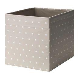 ДРЁНА Коробка, бежевый, точечный, 33 х 38 х 33 см