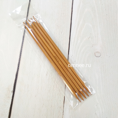 Спицы чулочные №3,75 мм, 13 см (5 шт), бамбук