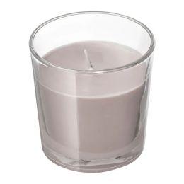 СИНЛИГ Ароматическая свеча в стакане, Мускатный орех и ваниль, серый, 7,5 см