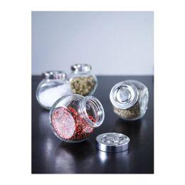 РАЙТАН Банка для специй, стекло, цвет алюминия, 4 шт