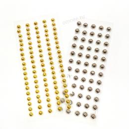 Стразы 4/5 мм (60/95 шт.) акриловые самоклеящейся, цв.: золото, серебро (на выбор)