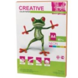 Бумага CREATIVE color (Креатив) А4, 80г/м, 50 л. (5 цв.х10л.) цветная неон, БНpr-50r, ш/к 41447