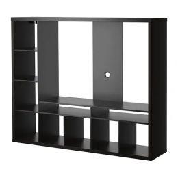 ЛАППЛАНД Шкаф для ТВ, черно-коричневый 183 х 39 х 147 см