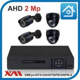 Комплект видеонаблюдения на 4 камеры XMEye-KIT412AHD750PB/300PB-4.