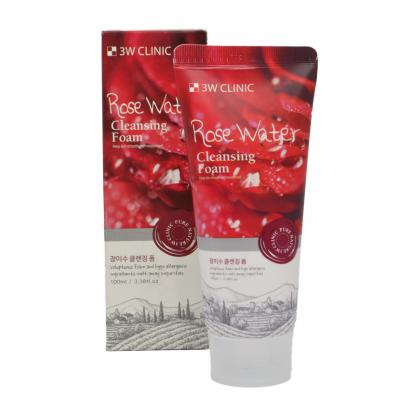[3W CLINIC] Пенка для умывания натуральная РОЗОВАЯ ВОДА Rose Water Foam Cleansing, 100 мл