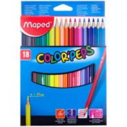 карандаши цветные Maped Color Pep's, треугольные, в картонном футляре, 18 цветов