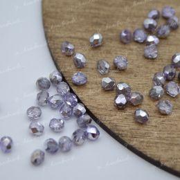 Граненые бусины Firepolished / Silver/Violet 4 мм. 25 шт, Чехия
