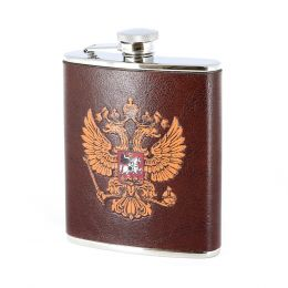 Фляга Российский герб 0,18л. (сталь+нат. кожа)