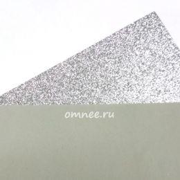 Фоамиран глиттерный 2мм, 20х30 см, цв.: серебро