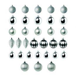 ВИНТЕР 2018 Набор елочных шаров, 32 шт., серебристый/белый