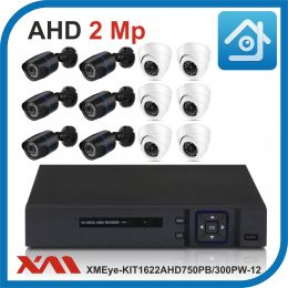 Комплект видеонаблюдения на 12 камер XMEye-KIT1622AHD750PB/300PW-12.