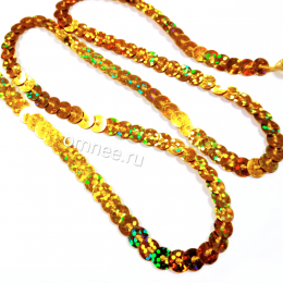 Пайетки на нитях (голограмма) 6 мм, цв.: золото А20