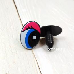 Глаза 20х15 мм винтовые с заглушками, цв.: голубой/розовый, пара.