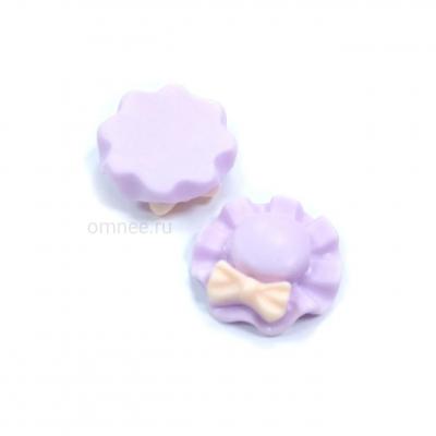 Кабошон (серединка) ''шляпа с бантиком'', акрил, 18мм, цв.: фиолетовый