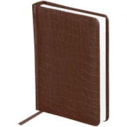 """Ежедневник недатированный, A6, 160л., кожзам, OfficeSpace """"Croco"""", коричневый"""