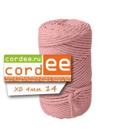 Шпагат Cordee 4 мм, 100 метров, хлопковый кручёный, цв.: светло-розовый