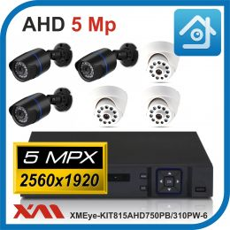 Комплект видеонаблюдения на 6 камер XMEye-KIT815AHD750PB/310PW-6.