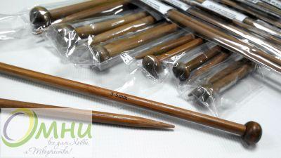 Прямые бамбуковые спицы с наконечником, 35 см № 3,5