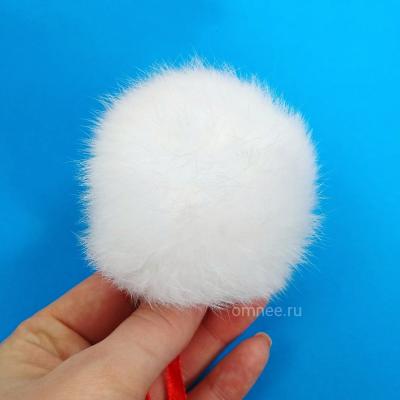 Помпон из меха кролика 6 см, цв.: белый
