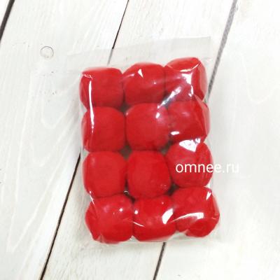 Помпоны 30 мм, уп. 12 шт. цв.: красный