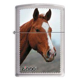 Зажигалка ZIPPO Рыжая лошадь с покрытием Brushed Chrome, латунь/сталь, серебристая, матовая
