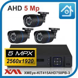 Комплект видеонаблюдения на 3 камеры XMEye-KIT415AHD750PB-3.
