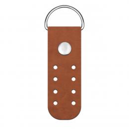 Пришивное полукольцо 2х6,5 см, цв.: фундук/никель, иск.кожа, шт.