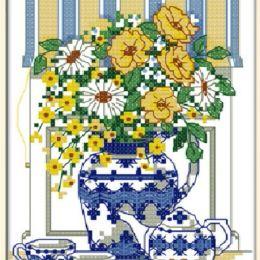 Вышивка крестом ''Утреннее чаепитие'', 20х27 см