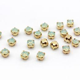 Шатоны Preciosa Chrysolite Opal /оправа золото ss16/3,8-4,0 мм 15 шт (Чехия)