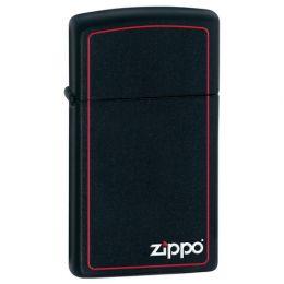Зажигалка ZIPPO Slim® с покрытием Black Matte, латунь/сталь, чёрная с фирменным логотипом, матовая