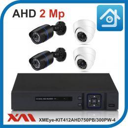 Комплект видеонаблюдения на 4 камеры XMEye-KIT412AHD750PB/300PW-4.