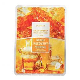 DEOPROCE COLOR SYNERGY EFFECT SHEET MASK YELLOW 20g Восстанавливающая тканевая маска на основе фильтрата улитки и мёда