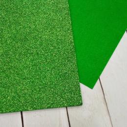 Фетр глиттерный 1,2 мм 20х30 см, цв.: 23 зелёный