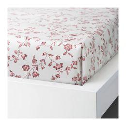 ХЭССЛЕКЛОККА Простыня, белый, розовый 150 х 220 см