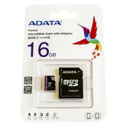 Карта памяти MicroSDHC 16GB Class 10 A-Data + SD адаптер