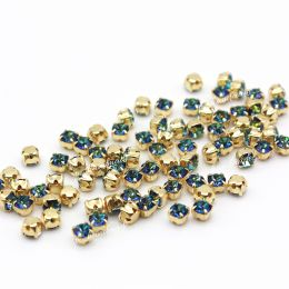 Шатоны Preciosa Bermuda Blue/оправа золото / Maxima ss16/3,8-4,0 мм 20 шт (Чехия)
