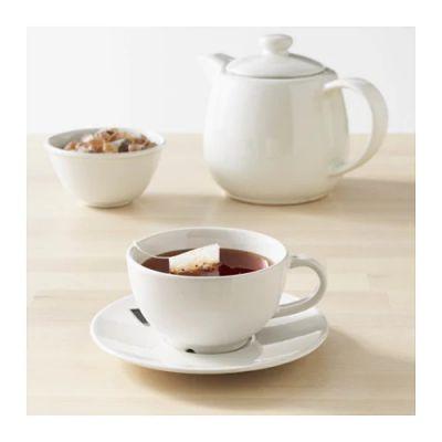 ВАРДАГЕН Чашка чайная с блюдцем, белый с оттенком