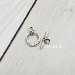Застёжка - тогл круг 11 мм, цв.:никель