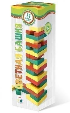 Башня, цветная с кубиком