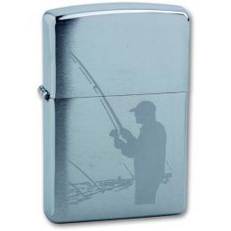 Зажигалка ZIPPO Fisherman с покрытием Brushed Chrome, латунь/сталь, серебристая, матовая