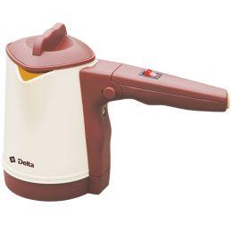 Турка электрическая 1100 Вт, 500 мл DELTA DL-8163 со складной ручкой и с крышкой, бежевая с коричневым