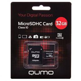 Карта флэш-памяти MicroSD 32 Гб Qumo +SD адаптер (class 10)