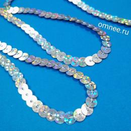 Пайетки на нитях (голограмма) 6 мм, цв.: серебро 50112