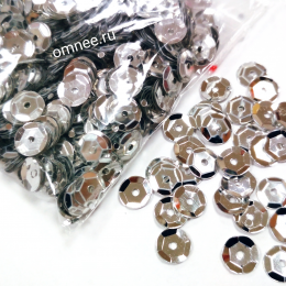 Пайетки ребристые пришивные ''круг'' , цв.: серебро, 7 мм, 10 гр.