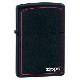 Зажигалка ZIPPO Classic с покрытием Black Matte, латунь/сталь, чёрная с фирменным логотипом и красной окантовкой, матовая