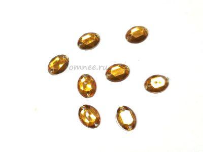 Стразы акриловые пришивные 8х6 мм ''Овал'', цв.: св.коричневый