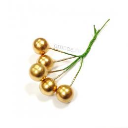 Ягоды в пучке 5 шт. d1 см, цв.: золото