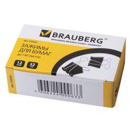 Зажимы для бумаг BRAUBERG, КОМПЛЕКТ 12шт., 32мм, на 140л., черные, в карт.коробке, 220560
