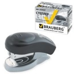 "степлер Brauberg ""Einkommen"", 24/6 мини, до 8 л,метал корпус,метал мех,встроен антистеп, черный"